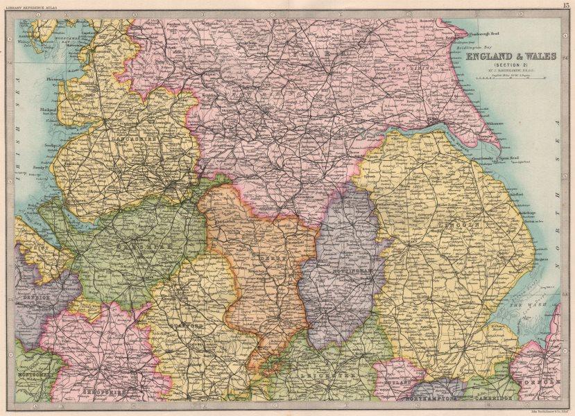 Associate Product ENGLAND NORTH & MIDLANDS.Lincs Lancs Yorks Notts Derbys Staffs Cheshire 1890 map