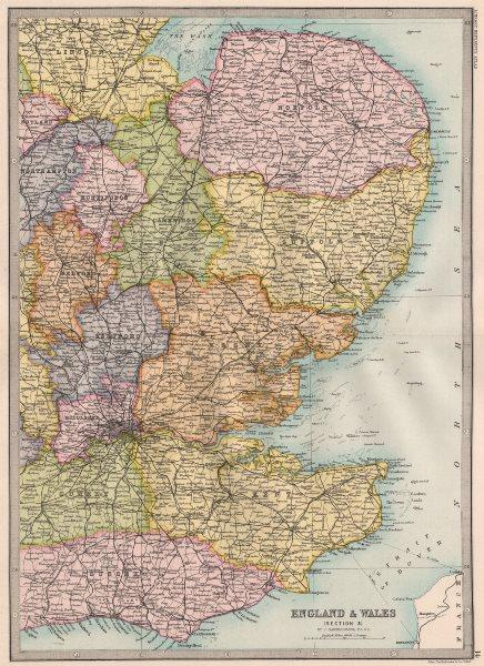 Associate Product EASTERN ENGLAND. E Anglia Home Counties E Midlands London. BARTHOLOMEW 1890 map