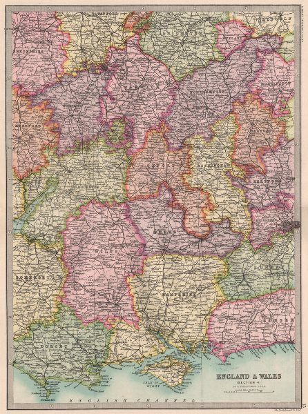 Associate Product SOUTHERN & CENTRAL ENGLAND. South Coast Home Counties Midlands 1890 old map