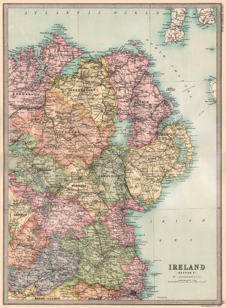IRELAND NORTH EAST. Ulster Dublin Meath Louth Cavan &c. BARTHOLOMEW 1890 map