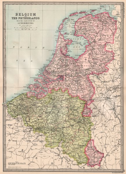 Associate Product BENELUX.Belgium & The Netherlands with Duchy of Luxembourg.BARTHOLOMEW 1890 map