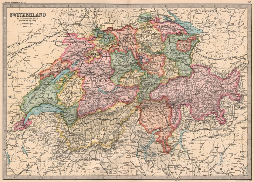 Associate Product SWITZERLAND. in cantons. Railways. BARTHOLOMEW 1890 old antique map plan chart