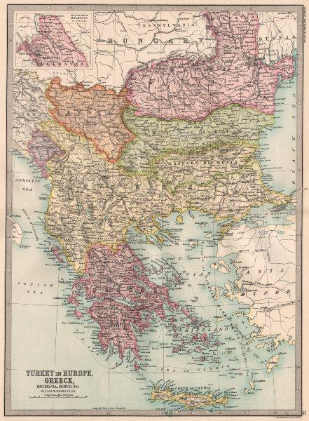 Associate Product BALKANS. Turkey In Europe Greece Roumania Eastern Roumelia Wallachia 1890 map