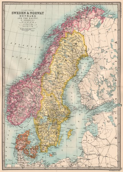Associate Product SCANDINAVIA.Sweden divided into Gothland Sweden & Norrland.BARTHOLOMEW 1890 map