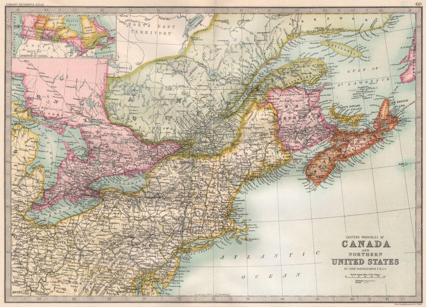 Map Of Canada 1890 CANADA/US ATLANTIC COAST. Eastern seaboard. BARTHOLOMEW 1890 old
