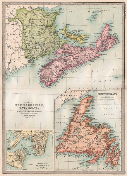 Associate Product CANADA MARITIME PROVINCES. New Brunswick NS PE Newfoundland. St. John 1890 map