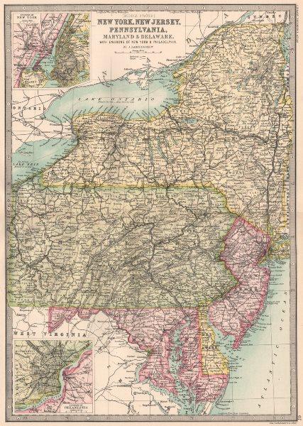 Associate Product MID ATLANTIC STATES. New York New Jersey Pennsylvania Maryland Delaware 1890 map