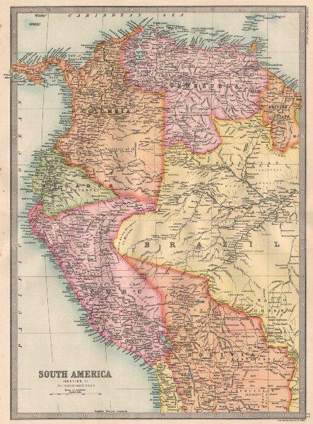 Associate Product SOUTH AMERICA NORTH WEST. Colombia Venbezuela Ecuador Peru Bolivia 1890 map