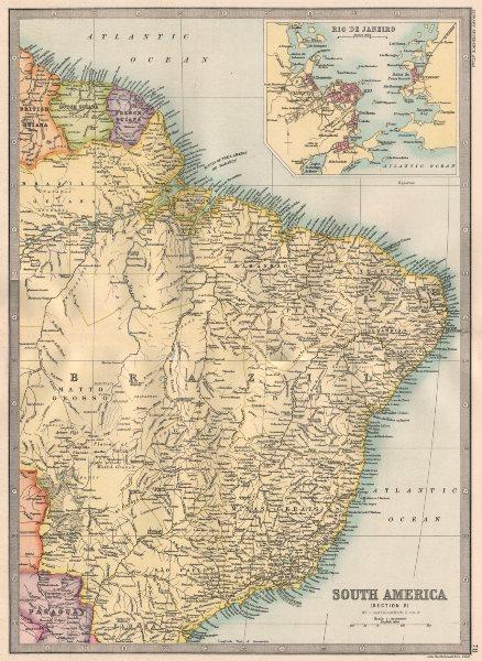 Associate Product SOUTH AMERICA. Brazil & the Guianas. Inset Rio de Janeiro. BARTHOLOMEW 1890 map