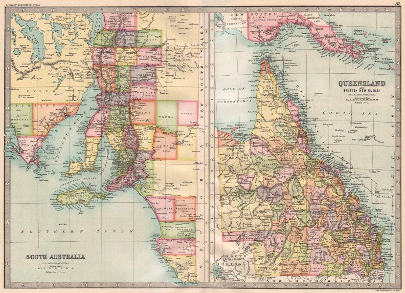 Associate Product AUSTRALIA.South Australia;Queensland & British New Guinea.BARTHOLOMEW 1890 map