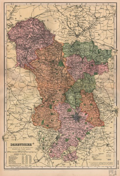Associate Product DERBYSHIRE. Showing Parliamentary divisions, boroughs & parks. BACON 1896 map