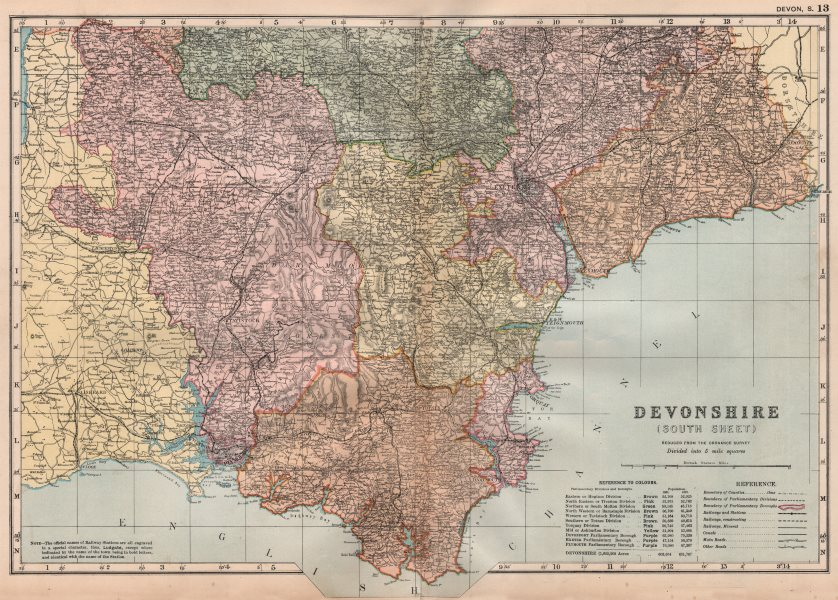 Associate Product DEVONSHIRE (SOUTH) . Parliamentary divisions. Parks. Devon. BACON 1896 old map