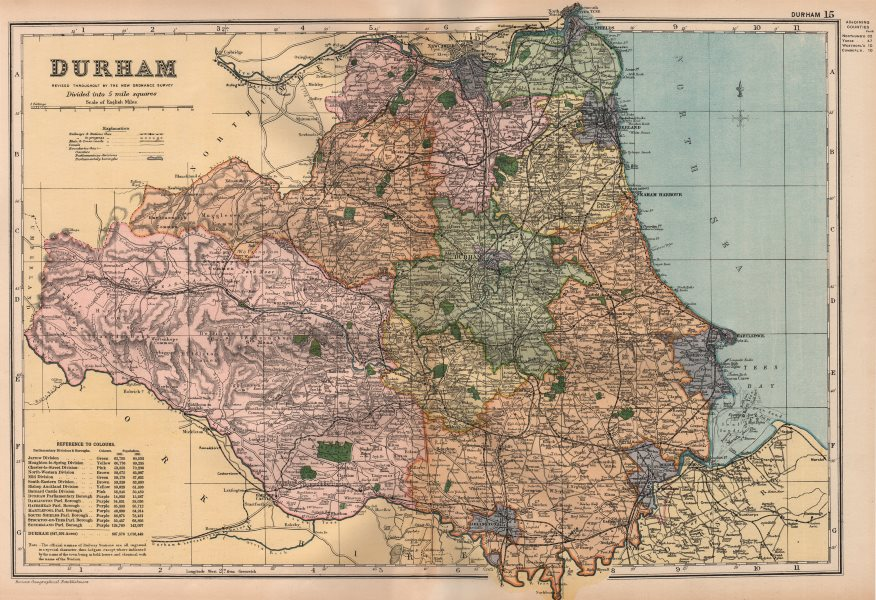 Associate Product DURHAM. Showing Parliamentary divisions, boroughs & parks. BACON 1896 old map