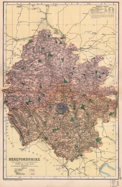 Associate Product HEREFORDSHIRE. Showing Parliamentary divisions, boroughs & parks. BACON 1896 map
