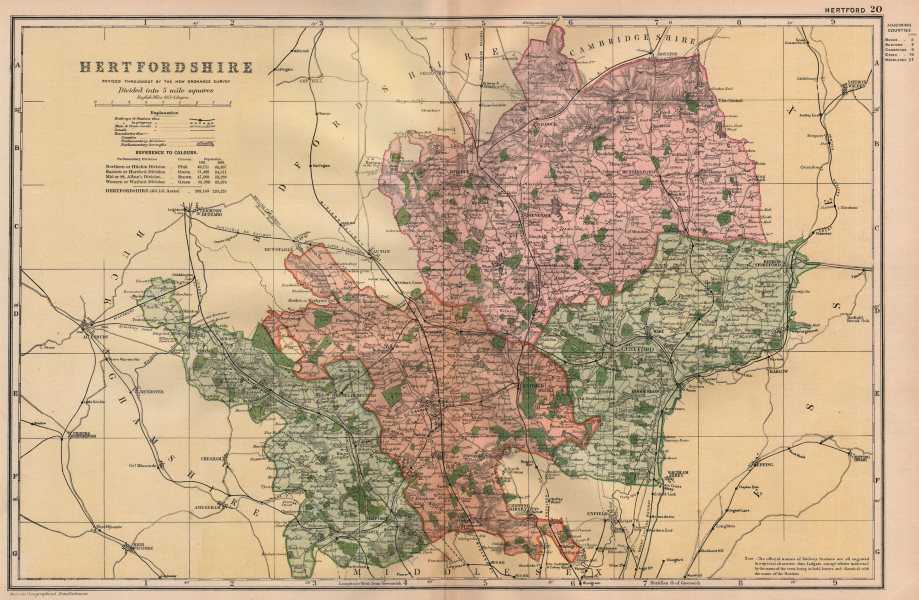 Associate Product HERTFORDSHIRE. Showing Parliamentary divisions, boroughs & parks. BACON 1896 map