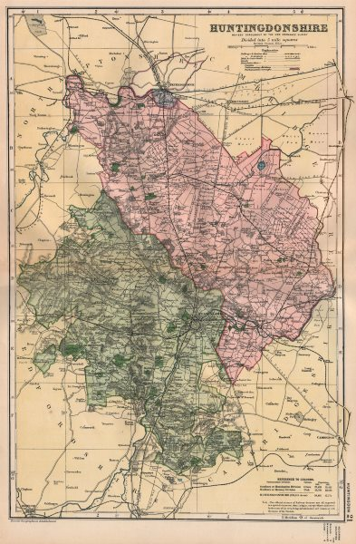 Associate Product HUNTINGDONSHIRE.Showing Parliamentary divisions,boroughs & parks.BACON 1896 map