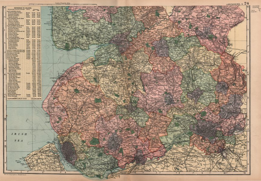 Associate Product LANCASHIRE (SOUTH) . Showing Parliamentary divisions & parks. BACON 1896 map