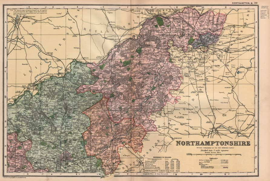 Associate Product NORTHAMPTONSHIRE (NORTH) . Constituencies, boroughs & parks. BACON 1896 map