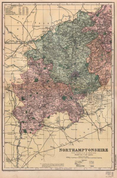 Associate Product NORTHAMPTONSHIRE (SOUTH) . Constituencies, boroughs & parks. BACON 1896 map