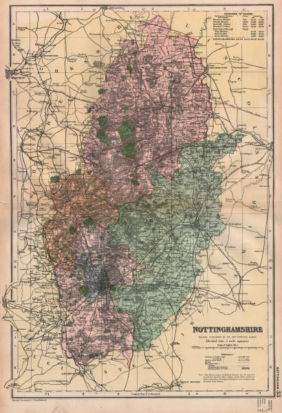 Associate Product NOTTINGHAMSHIRE.Showing Parliamentary divisions,boroughs & parks.BACON 1896 map