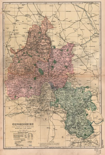 Associate Product OXFORDSHIRE. Showing Parliamentary divisions, boroughs & parks. BACON 1896 map