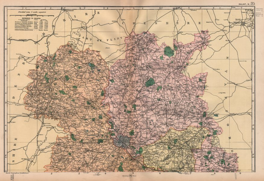 Associate Product SHROPSHIRE (NORTH) . Showing Parliamentary divisions & parks. BACON 1896 map