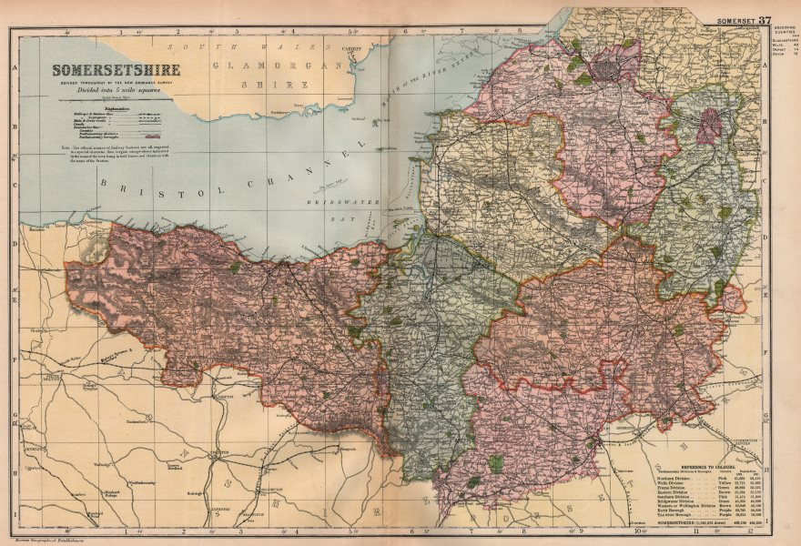Associate Product SOMERSETSHIRE. Showing Parliamentary divisions, boroughs & parks. BACON 1896 map