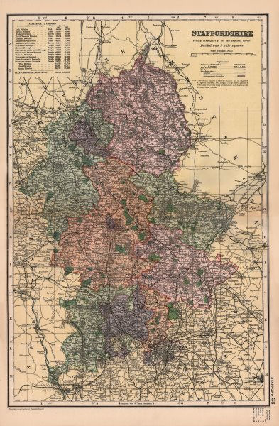 Associate Product STAFFORDSHIRE. Showing Parliamentary divisions, boroughs & parks. BACON 1896 map