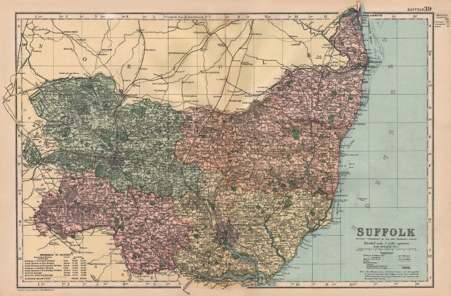 Associate Product SUFFOLK. Showing Parliamentary divisions, boroughs & parks. BACON 1896 old map