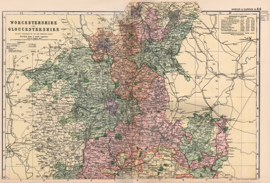 Associate Product WORCESTERSHIRE & GLOUCESTERSHIRE NORTH. Parliamentary divisions. BACON 1896 map