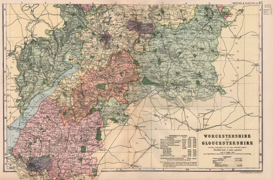 Associate Product GLOUCESTERSHIRE & WORCESTERSHIRE SOUTH. Parliamentary divisions. BACON 1896 map