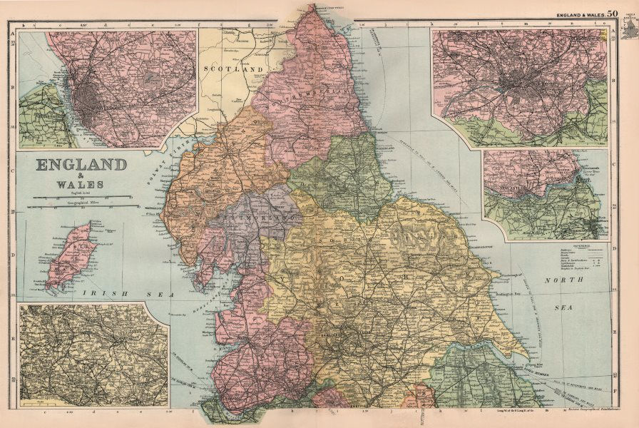 Associate Product NORTHERN ENGLAND. inset Liverpool Leeds Manchester Newcastle. BACON 1896 map