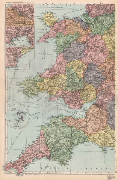 Associate Product WALES & SOUTH WEST ENGLAND. inset Bristol Swansea Cardiff. BACON 1896 old map