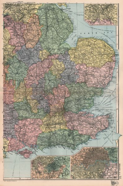 Associate Product ENGLAND EAST. inset Sheffield Birmingham & London. BACON 1896 old antique map