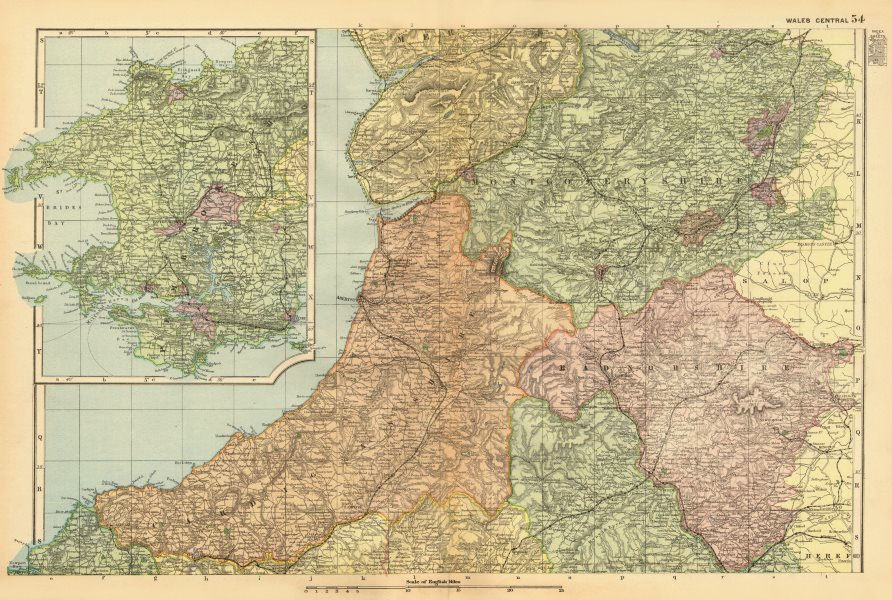 Associate Product CENTRAL WALES. Cardigan/Montgomery/Radnor/Pembrokeshire. BACON 1896 old map