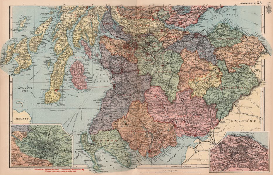 Associate Product SOUTHERN SCOTLAND. Glasgow Edinburgh. Parliamentary divisions. BACON 1896 map