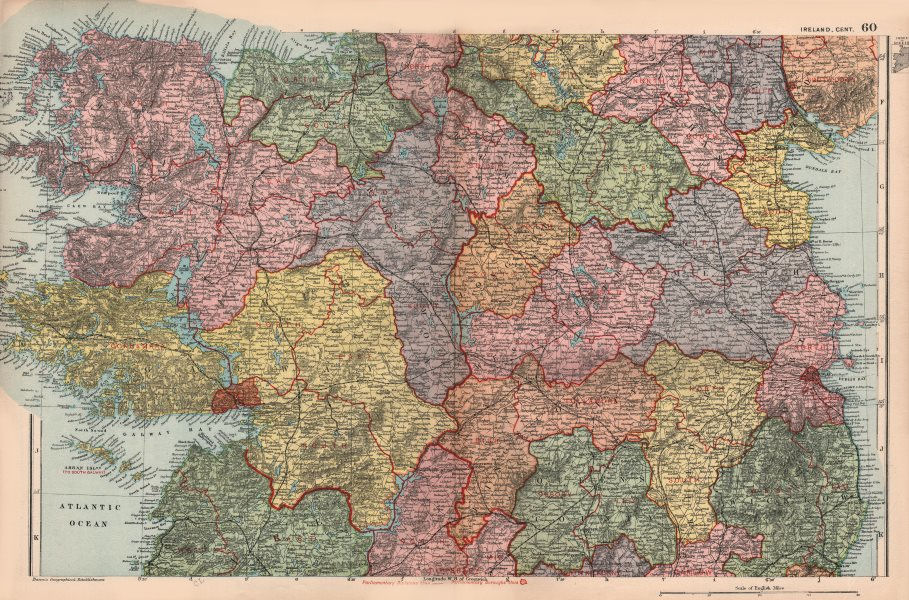 Associate Product CENTRAL IRELAND. Showing parliamentary divisions & boroughs. BACON 1896 map