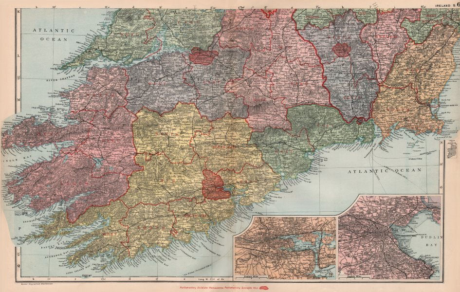 Associate Product SOUTHERN IRELAND. Cork Dublin. Parliamentary divisions boroughs. BACON 1896 map