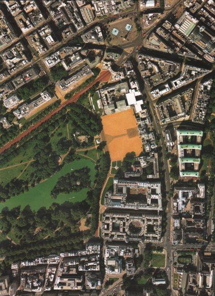 LONDON. St. James's Park Whitehall Westminster Trafalgar Square 2000 old map