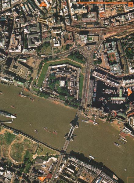 TOWER OF LONDON/BRIDGE EC3 SE1. St Katharine's Dock Butler's Wharf 2000 map