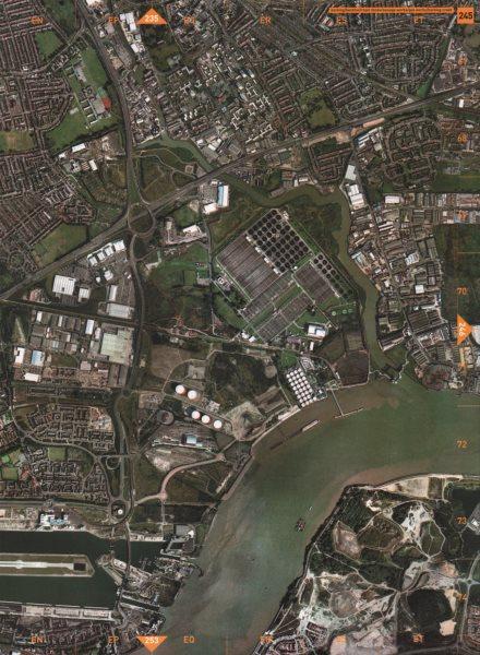 Associate Product BARKING E6 E16 SE28. Beckton Royal Docks Sewage Works Gas Creek 2000 old map
