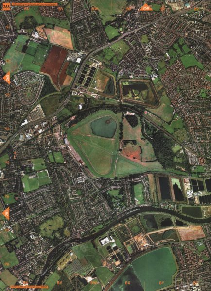 Associate Product SUNBURY. Feltham Hill Hanworth Kempton Park Racecourse 2000 old vintage map