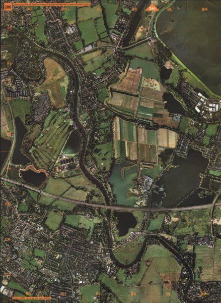 Associate Product CHERTSEY.Queen Mary Reservoir Laleham Shepperton Studios Golf Course M3 2000 map