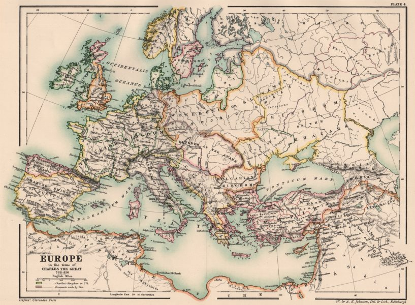 Associate Product CAROLINGIAN EMPIRE. Europe of Charlemagne 768-814. 8th-9th century 1902 map