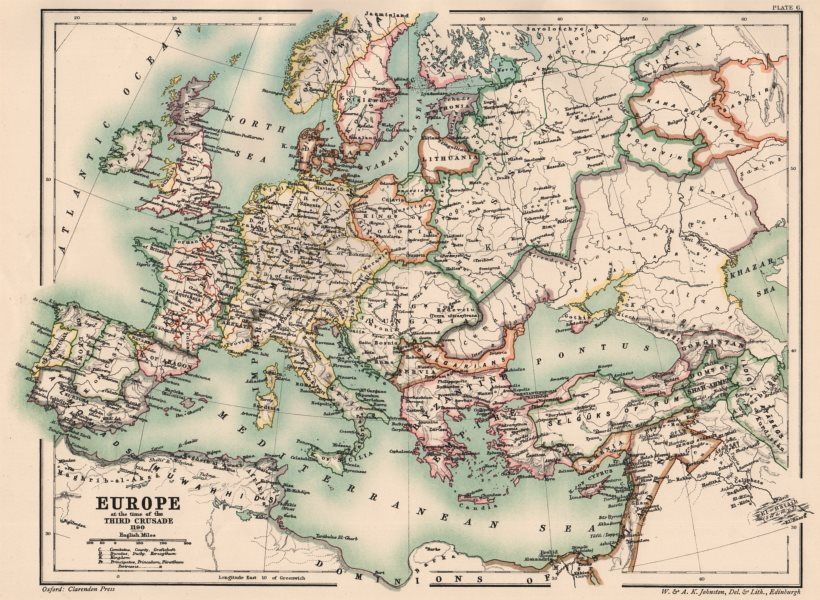 Associate Product EUROPE/HOLY ROMAN EMPIRE. at the time of the Third Crusade 1190 1902 old map