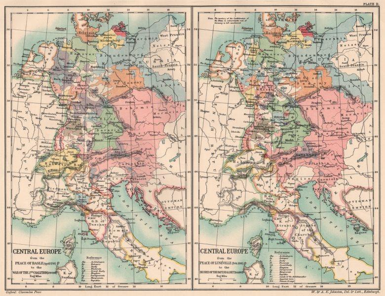 Associate Product CENT.EUROPE 1795-1803.Basel Lunéville peace Coalition War Imperial Diet 1902 map