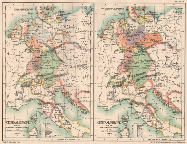Associate Product CENTRAL EUROPE. 1804-1806/1807-1809. French Empire Peace of Sovetsk 1902 map