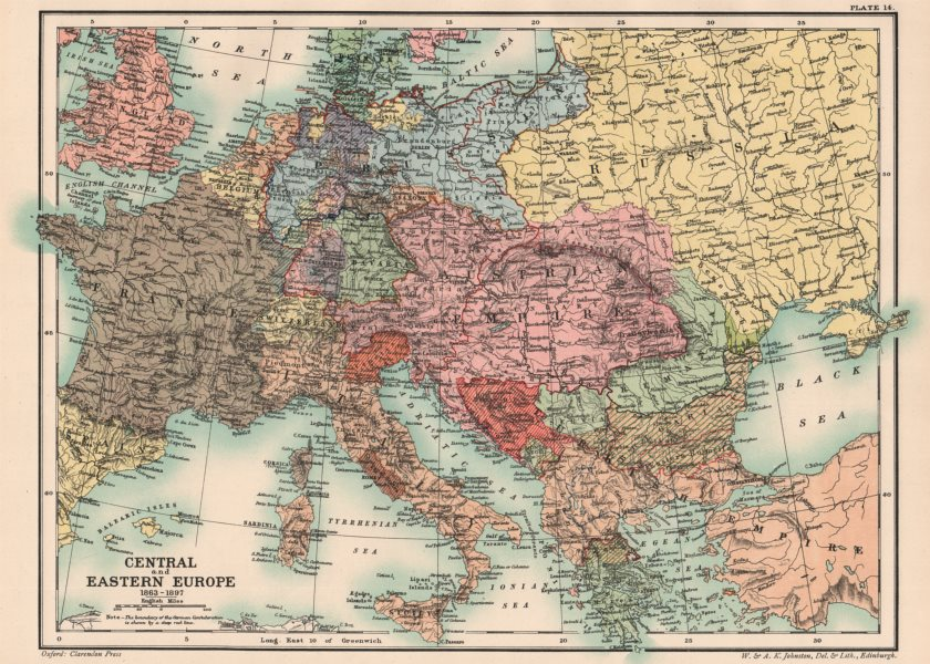 LATE 19TH CENTURY EUROPE. Central and Eastern Europe 1863-1897 1902 old map