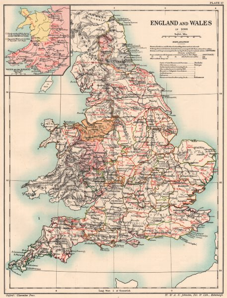 Associate Product NORMAN BRITAIN 1086. England & Wales of Domesday book. Borders 1185 1902 map