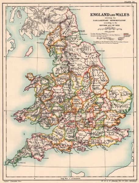 Associate Product ENGLAND & WALES 1832. Parliamentary representation on Reform Act Bill 1902 map